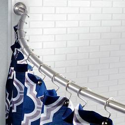 "58"" - 72"" Adjustable Curved Shower Curtain Rod - Satin Nicke"