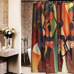 60x72 Waterproof Custom African Woman Bathroom Polyester Fab