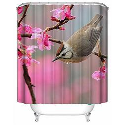 "66""x72""£¨165x180 Fashion Shower Curtain Cute Bird and Pink"