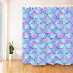"72"" Abstract Mermaid Scales Shower Curtain Set Bathroom Wate"