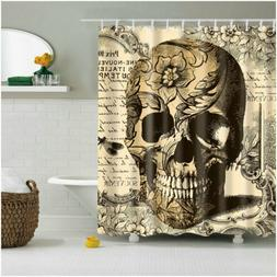 72 x 72 inches Shower Curtain Brown skull pattern Bath Curta
