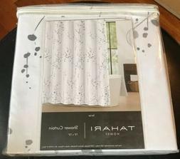 """TAHARI Home 72"""" x 72"""" Silver Sprigs On White Cotton/Polyeste"""