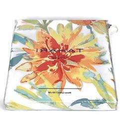 "Tahari Home 72"" x 72"" White Martina Orange Flower Floral Fab"