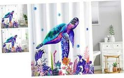 96 Inch Extra Long Shower Curtain Set with Hooks,Sea Turtle
