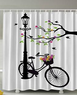 Ambesonne Artsy Shower Curtain Spring Tree Birds Bike