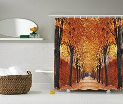 Ambesonne Nature Shower Curtain by, Fall Road in Park Autumn