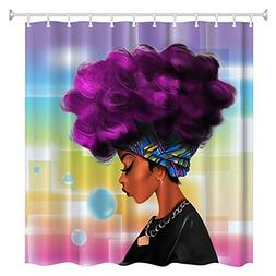 Women Black shower curtain-- with Purple Hair Hairstyle- Wat