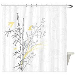 CafePress - Bamboo N Birds Yellow - Decorative Fabric Shower
