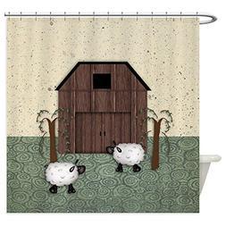 CafePress - Barn Sheep - Decorative Fabric Shower Curtain