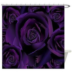 CafePress - Black Purple Rose - Decorative Fabric Shower Cur