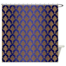 CafePress - Damask Gold On Royal Blue - Decorative Fabric Sh