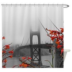 CafePress - Golden Gate Bridge With Orange - Decorative Fabr