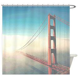 CafePress - Golden Gate Fog - Decorative Fabric Shower Curta