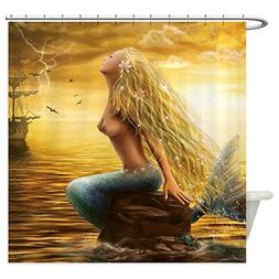 CafePress - Golden Mermaid - Decorative Fabric Shower Curtai