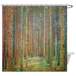 CafePress Gustav Klimt Pine Forest Decorative Fabric Shower