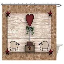 CafePress - Heart Topiary - Decorative Fabric Shower Curtain