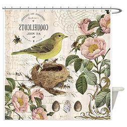 CafePress - Modern vintage french bird and nest Shower Curta
