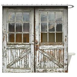 CafePress Old Vintage Wood Doors Decorative Fabric Shower Cu
