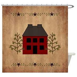 CafePress - Primitive House - Decorative Fabric Shower Curta