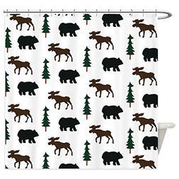 rustic bear moose shower curtain