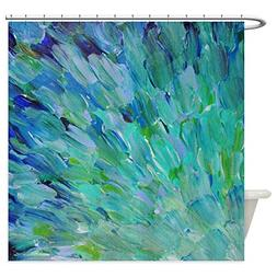 CafePress - Sea Scales - Ombre Teal Ocean Abstract Shower Cu