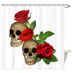 CafePress - Skulls Roses Shower Curtain - Decorative Fabric