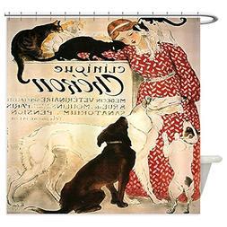 CafePress - Vintage French Cat Dog - Decorative Fabric Showe