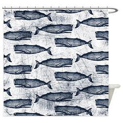 CafePress - Vintage Whale Pattern Blue - Decorative Fabric S