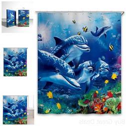 Chunyi Blue Sea World Coral Dolphin Printed Waterproof Showe