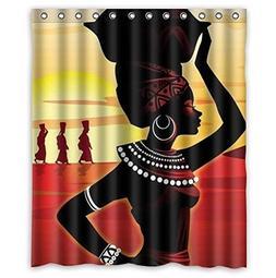 Custom Distinctive Cartoon African Woman Waterproof Bathroom