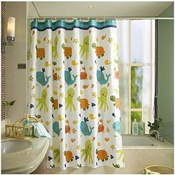 HOMEIDEAS Funny Kids Shower Curtain with Printed Animals Tor