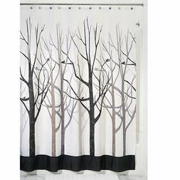 InterDesign Forest Shower Curtain, Gray and Black 54 x 78-In