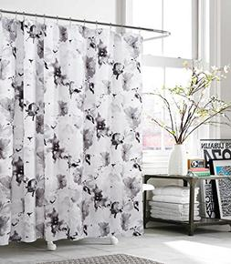 KENSIE - Floral Fabric Shower Curtain Liner Water Resistant
