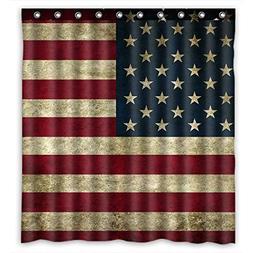KXMDXA Beautiful American Flag Waterproof Polyester Bath Sho