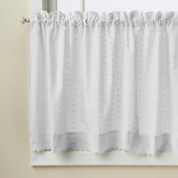LORRAINE HOME FASHIONS Ribbon Eyelet Window Tier, 60 by 24-I