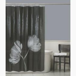 Maytex Tulip Photoreal Vinyl PEVA Shower Curtain, Black