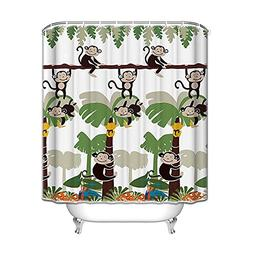 Monkey Bathroom Decor - Monkey Shower Curtain with 12 Shower