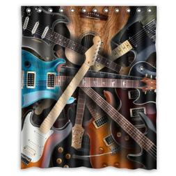"""New Choice - Cool Kinds Of Guitar Shower Curtain 60""""x72"""" Inc"""