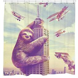 Slothzilla Funny Waterproof Shower Curtain of Sloth Climbing