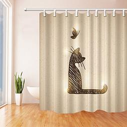 NYMB Animals Lover Decor, A litter Cat with a Butterfly Show