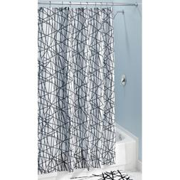 "InterDesign Abstract Fabric Shower Curtain, 72"" x 84"", Black"
