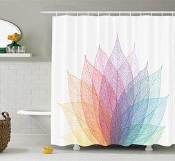 Ambesonne Abstract Home Decor Shower Curtain Set, Leaf Abstr