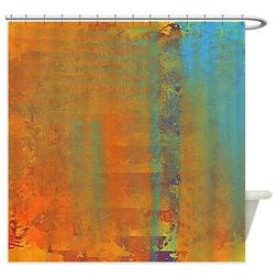 CafePress Abstract In Aqua, Copper And Gold Shower Curtain