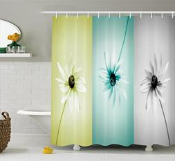 Ambesonne Abstract Shower Curtain, Daisy Flowers in Differen