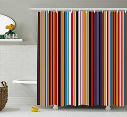Ambesonne Abstract Shower Curtain, Vibrant Colored Stripes V