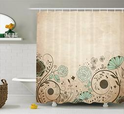 Ambesonne Abstract Shower Curtain by, Old Dated Vintage Retr