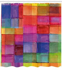 Abstract Shower Curtain Rainbow Colors Squares for Bathroom