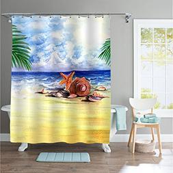 MitoVilla Abstract Summer Beach Shower Curtain Tropical Scen