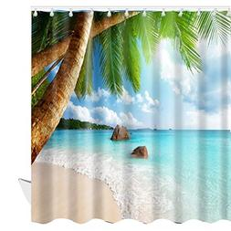 ABxinyoule Beach Scene Shower Curtain Tropical Beach Theme P