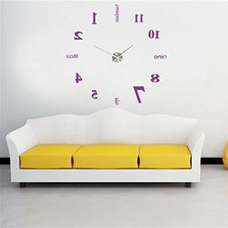 LiPing Acrylic Modern DIY Wall Clock 3D Mirror Surface Stick